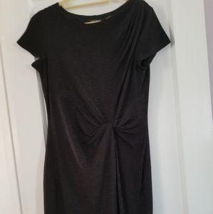 Short Sleeve Black Beaded Dress
